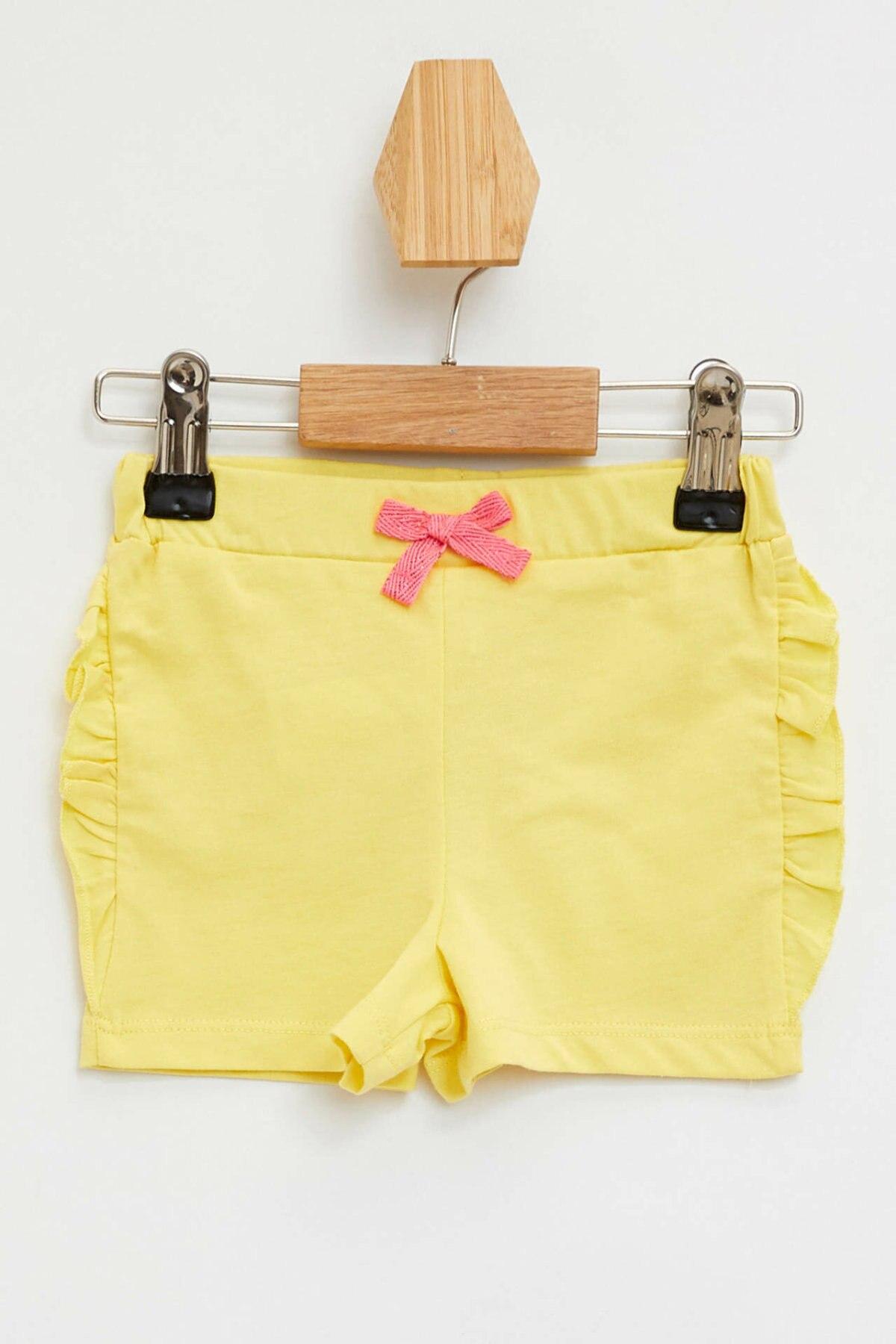 DeFacto BabyGirl Summer Light Yellow Short Bottoms Girls Casual Elastic Shorts Cute Girl Ruffles Decors Shorts-L1097A219HS