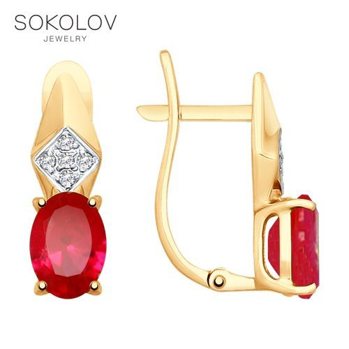 SOKOLOV Drop Earrings With Stones Of Gold With Ruby (synth.) And Cubic Zirconia Fashion Jewelry 585 Women's Male