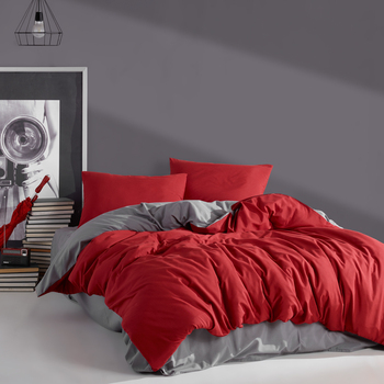 Red&Grey Luxury Solid Bed Linen Cotton Set Ranforce Bedding Set Twin/Full/Queen/King Size 3/4/5 Pcs Bed Sheet Duvet Cover Set