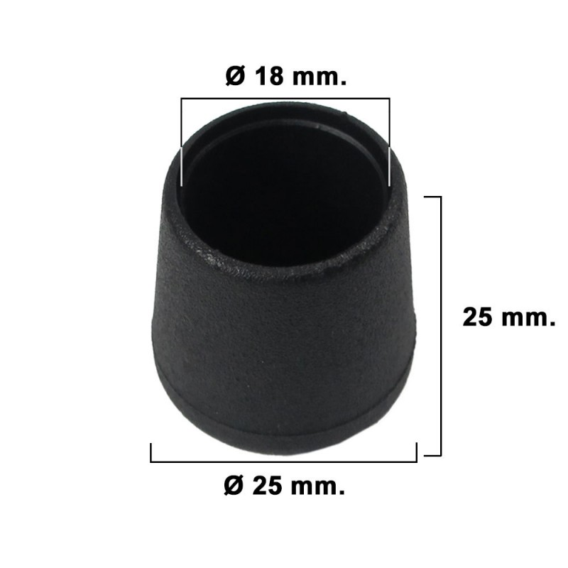 Cone Tapered Black 18mm. Blister 8 Pieces.