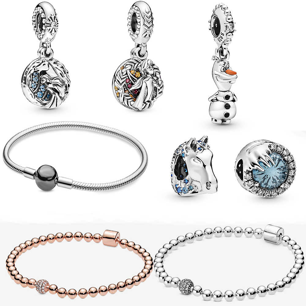2019Autumn New Rose Gold And Silver Pavé Bead Bracelet Ice Romance Series Pendant  String Ornaments Original Ladies Jewelry Gift