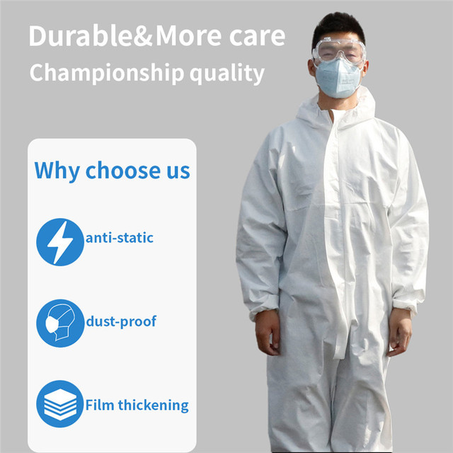 PPE Suit Coverall Hazmat Suit Disposable Anti-Virus Isolation Clothing Factory Hospital Protective Safety Clothing CE 4