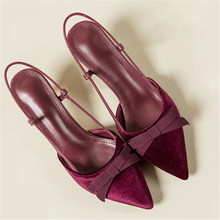 Sexy Pointy Toe Sandals Women Pumps Butterfly-knot Decor Summer Shoes Woman Thin Heels Ladies Shoes Slip On Sandalias Mujer 2019(China)