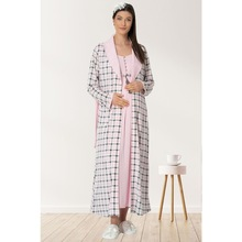 Women's Postpartum Nightgown Robe Set Plaid dressing gown Pink nightgown Maternity and postpartum wear