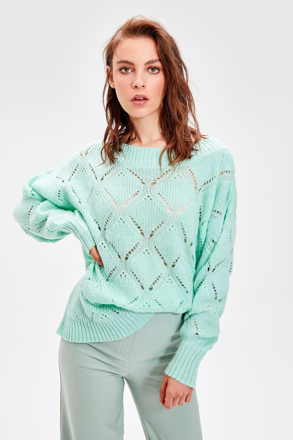 Trendyol WOMEN-Mint Boat Neckline Cellular Knitwear Sweater TWOAW20ZA0010