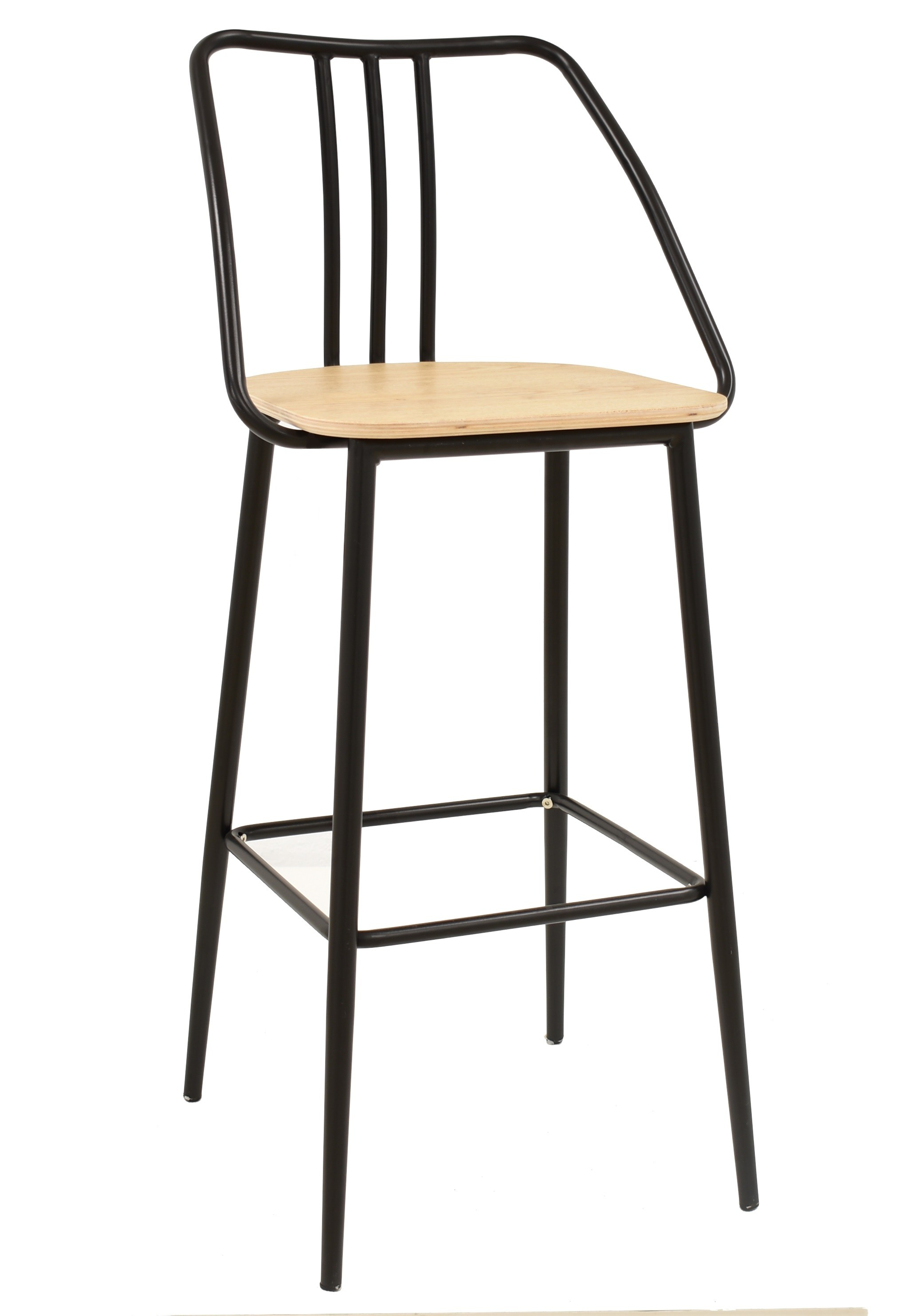 Stool KOBE, Metal, Wood, Black
