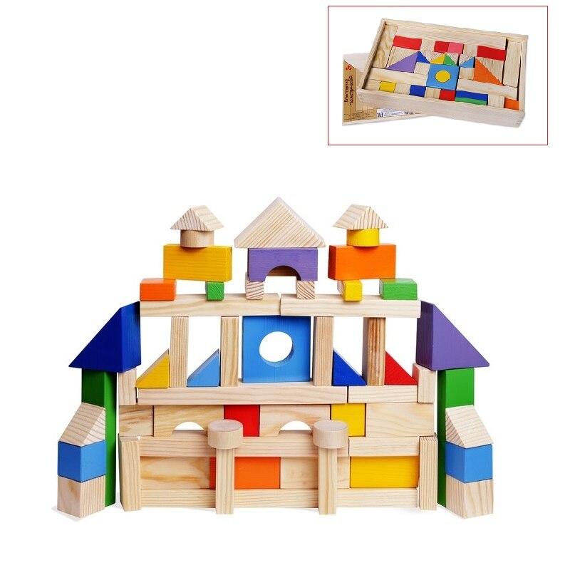 Blocs de bois PAREMO en bois, 85 pièces, peint, jouets de boîte en bois pour enfants pour enfants blocs de construction de jeu pour garçons et filles