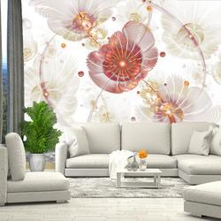 3D wall mural abstract flowers wallpaper for hall, kitchen, bedroom, nursery, wall mural expanding space