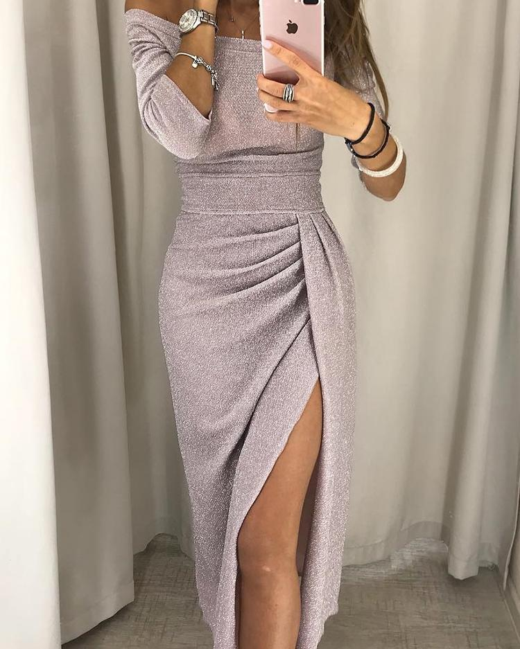 2020 Women Fashion Elegant Off Shoulder Glitter Ruched Thigh Slit Party Dress Glitter Ruched Wrap Slit Ladies Party Dress