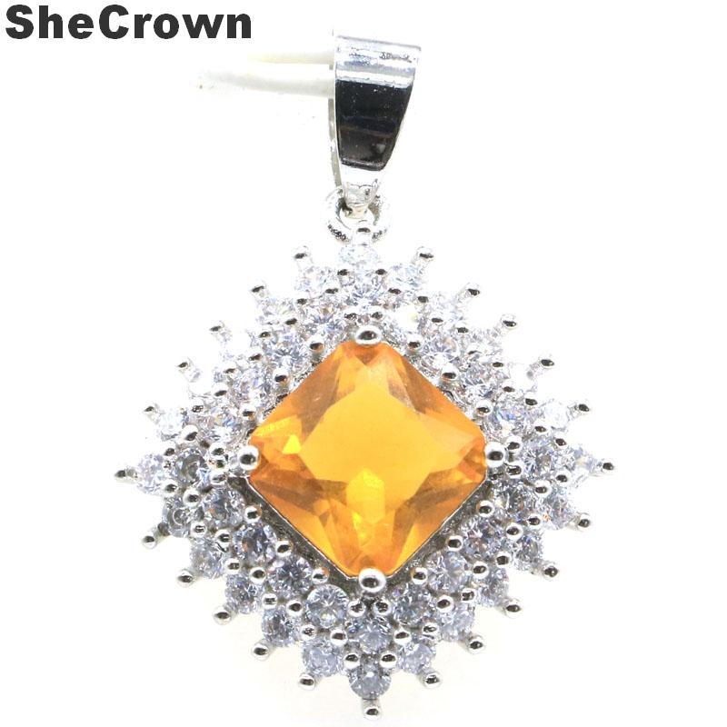 32x23mm Deluxe Square Shape Created Golden Citrine White CZ Gift For Sister Silver Pendant