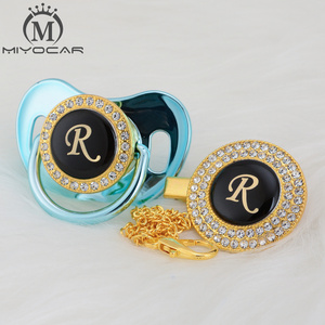 Image 4 - MIYOCAR Gold silver name Initials letter R beautiful bling pacifier and pacifier clip BPA free dummy bling unique design LR