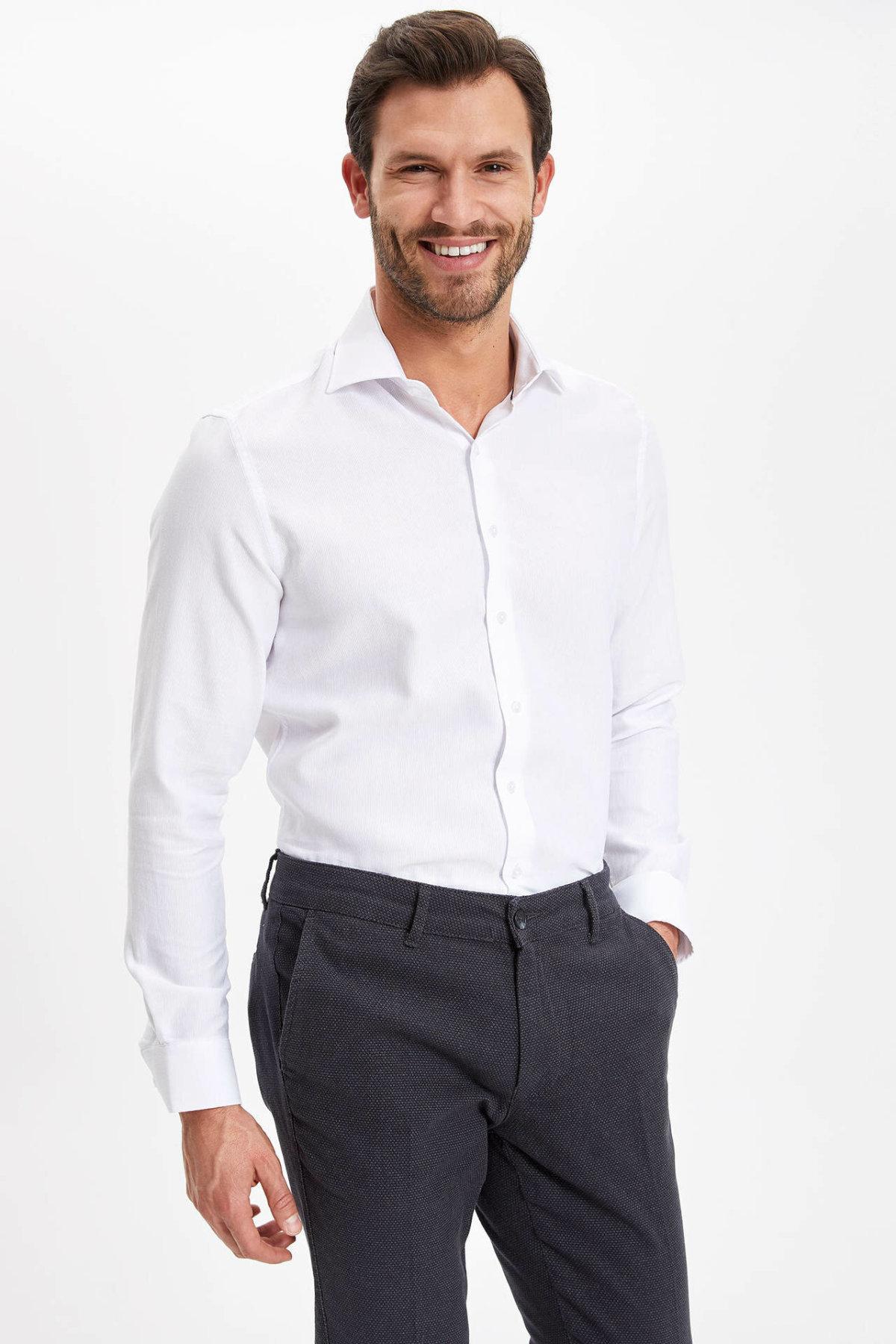 DeFacto Men Formal White Shirt Casual Woven Top Long Sleeve Shirt Office Business Wear Top Shirt New - K6572AZ19SMWT34-K6572AZ19SM