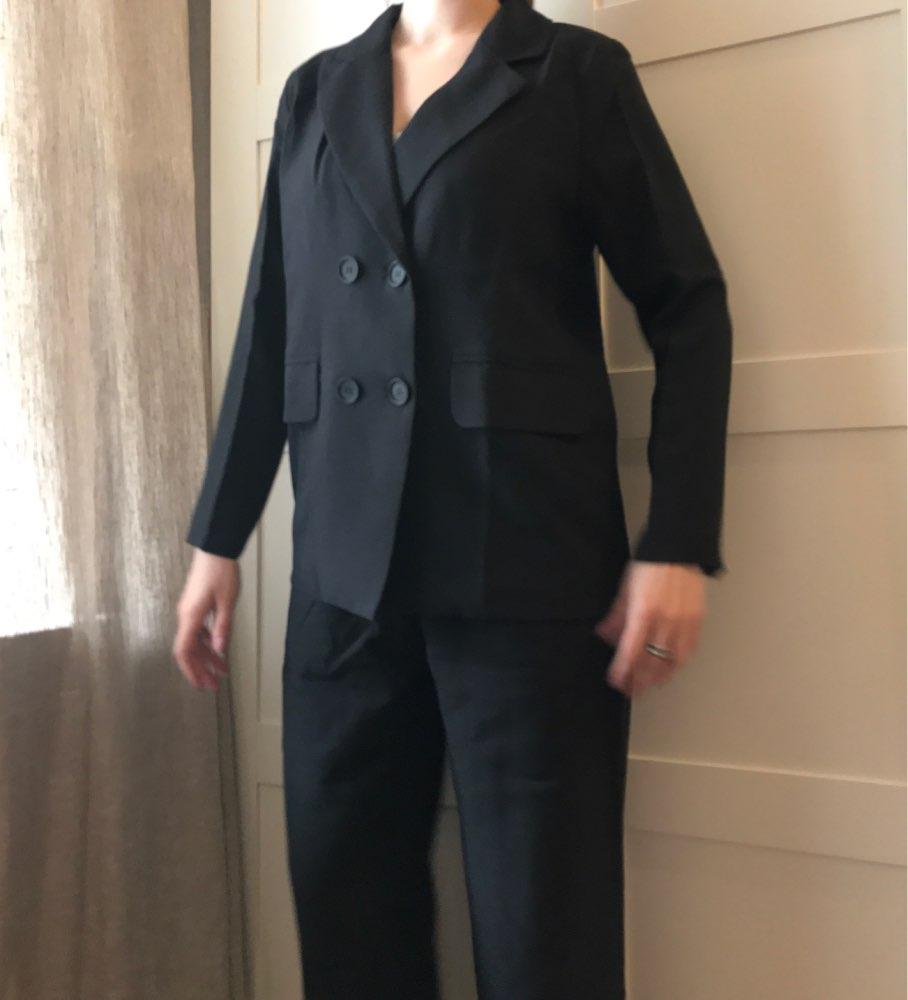 Autumn Winter  Women Lace Up Pant Suit Notched Blazer Jacket & Pant Office Wear Suits Female Sets reviews №5 115333
