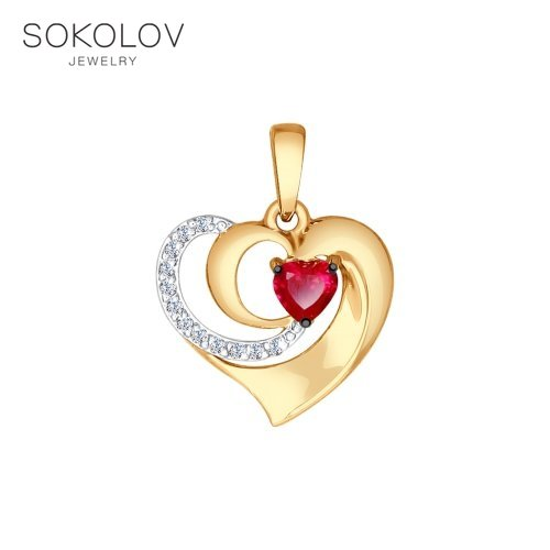 Pendant SOKOLOV Gold With Clear And Red Cubic Zirconia Fashion Jewelry 585 Women's Male