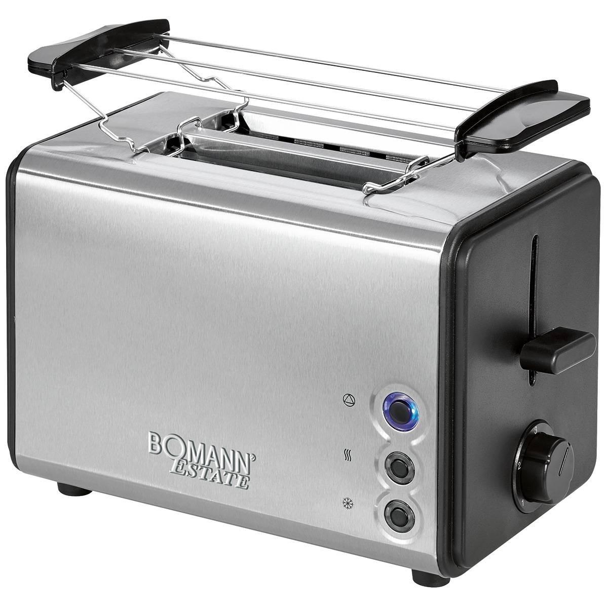 Bomann TA 1371 grille-pain poêle 2 fentes 3 toasts fonctionnels niveau de dégel chaud rôtis pains chauffants 850W Inox