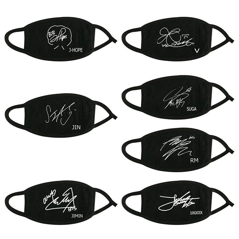 KPOP Cotton Dustproof Mouth Face Mask Bangtan Boys Signature Jin V Jimin Suga Jungkook Face Mask Kim Tae Hyung