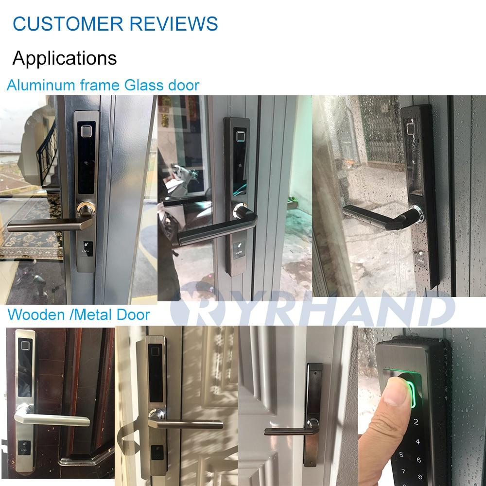 cheapest European waterproof biometric fingerprint door Locks electronic Smart door lock RFID Card code lock For Aluminum Glass Door