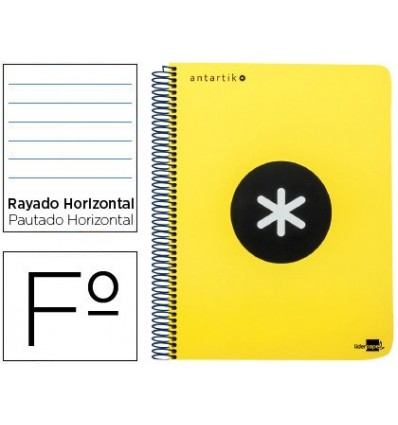SPIRAL NOTEBOOK LEADERPAPER FOLIO ANTARTIK HARDCOVER 80H 100 GR HORIZONTAL WITH MARGENCOLOR FLUOR YELLOW