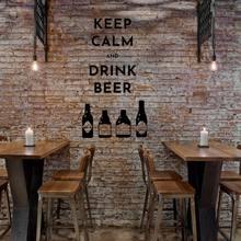 Mantenha a calma bebida adesivo de parede decalque resto-bar vinil removível adesivo de parede arte decoração a00952