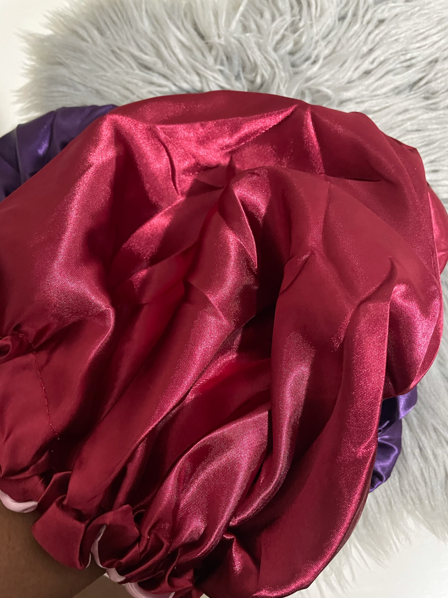 Reversible Satin Bonnet Hair Cap and Cover Hat For Curly Springy Hair Style photo review