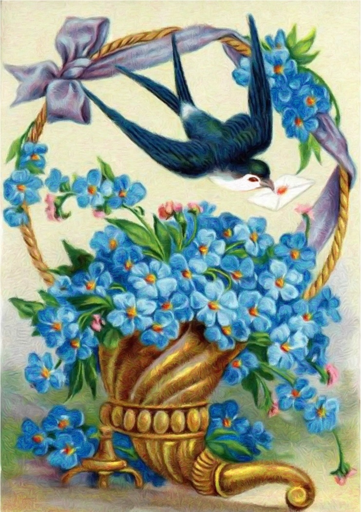 Painting By Numbers Flowers And Swallow, 40x50 Cm
