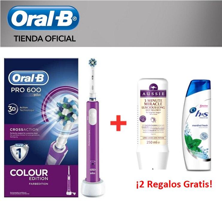 Oral-B PRO 600 CrossAction Purple Edition Cepillo De Dientes Eléctrico Con Tecnología Braun + Champú H&S Menthol + Champú Aussie