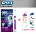 Oral B PRO 600 CrossAction Purple Edition Cepillo de dientes eléctrico con tecnología Braun + Champú H&S Menthol + Champú Aussie