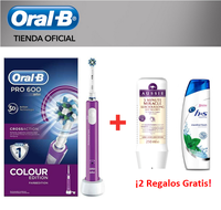 Oral-B Pro 600 Crossaction Viola Edizione Cepillo Eléctrico con Tecnología Braun + Champú H & S Mentolo + champú Aussie De Regalo
