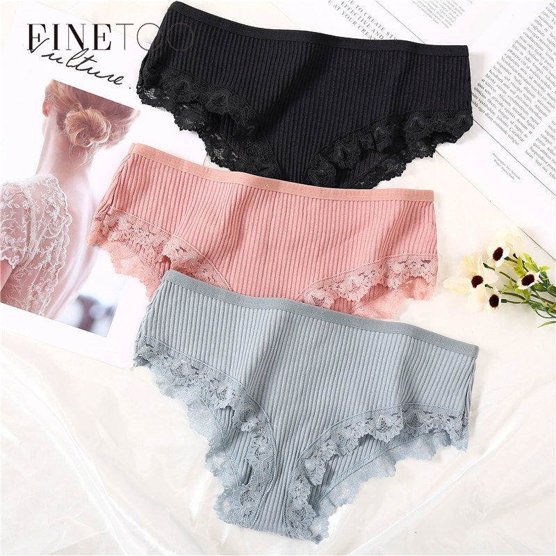 Women Lace Panties Solid Color Cotton Briefs Soft Female Underwear Ladies Underpants Sexy Lingerie Comfort Ladies Intimate M-XL