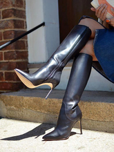 Women Sexy Stiletto Knee High Boots Zipper Pointed Toe Leather Fall Outfit Shoes Thin High Heel Winter Long Boots Manufacturer 2017 fashion women long boots knee high boots thin high heel pointed toe flock buckle plush dress party winter sexy ladies shoes