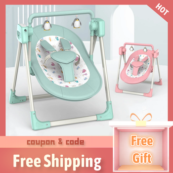 Electric Baby Cradle Chair Bed With Belt Crib Rocking Fast Sleep Newborn Calm Remote Control Smart Bluetooth Wifi Age 0-12M baby rocking chair baby electric rocking chair to appease the cradle bed children s dining chair rocking chair with remote cont