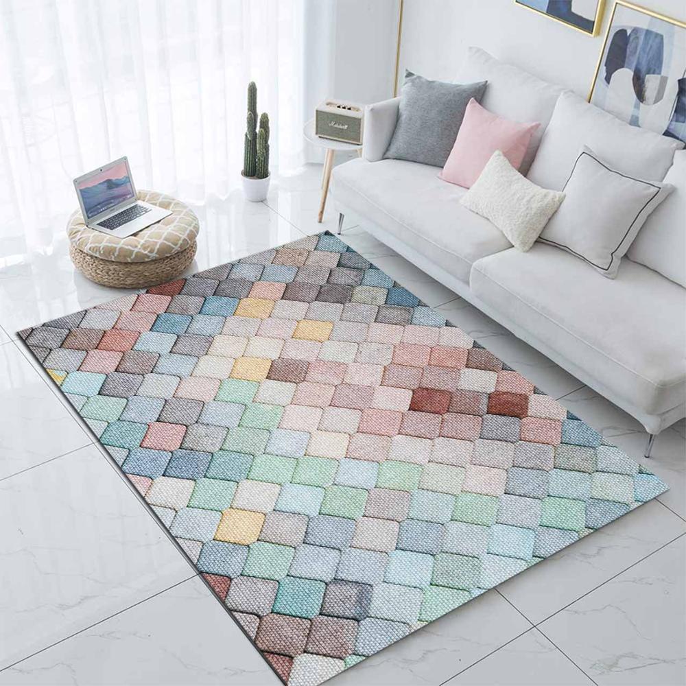 Else Collored Tiles Geometric Nordec Scandinavian 3d Print Non Slip Microfiber Living Room Modern Carpet Washable Area Rug Mat