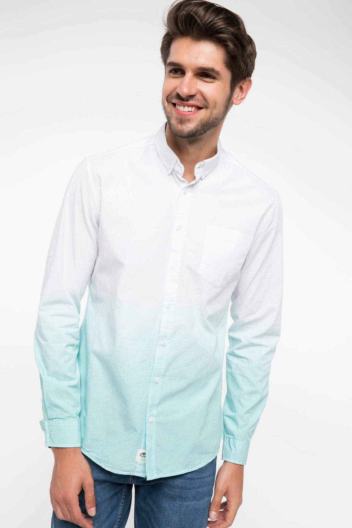 DeFacto Autumn Fashion Man Lapel Long Sleeve Shirt Men Casual High Quality Gradient Color Blouser Male Loose Shirts-I6376AZ18SM