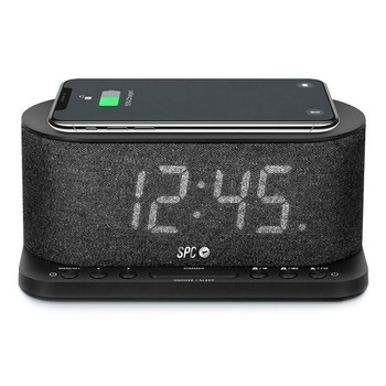 """Clock-Radio with Wireless Charger SPC 4582N 4,3"""" LED USB Black"""