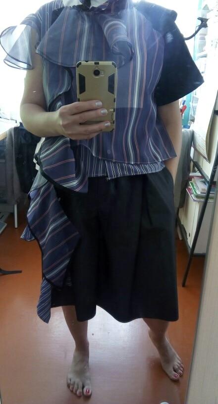 Summer Striped Women Blouse Stand Collar Short Irregular Ruffles Hit Color Patchwork Shirt Female Fashion photo review