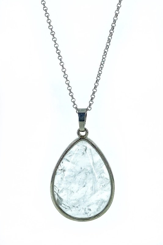 Drop Natural Crystal Quartz Stone Silver Necklace()