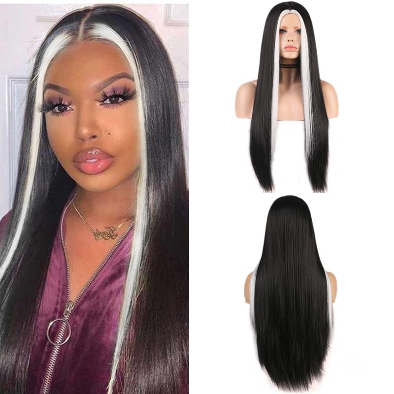 Carisma longa reta peruca sintética cabelo preto com destaque branco resistente ao calor perucas de fibra para preto feminino cosplay perucas