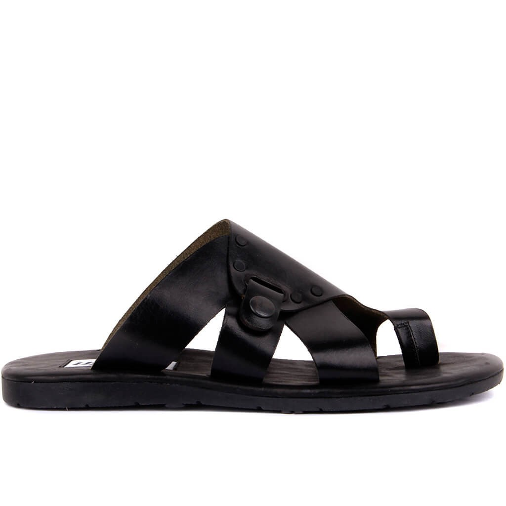 Sail-Lakers Black Leather Men 'S Outdoor Slipper