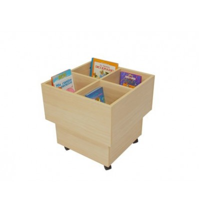 CUBE LIBRARY WOOD MOBEDUC 4 HOLES WITH WHEELS BEECH/WHITE 60X60X60 CM