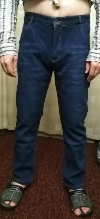 When Love-mans pants Winter Warm Jeans Business Casual Elasticity Thick Slim Trousers Black Plus Size,3081 Blue,30