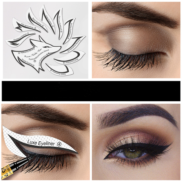 10pcs Eye Makeup Stencils Winged Eyeliner Stencil Template Shaping Tools Eyebrows Eye Shadow Makeup Template Tool stickers Card