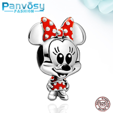 2020 New Cartoon Mickey Charm DIY Bead Fit Pandora charms silver 925 Original Bracelet Gifts 925 Sterling Silver Jewelry Making цена 2017