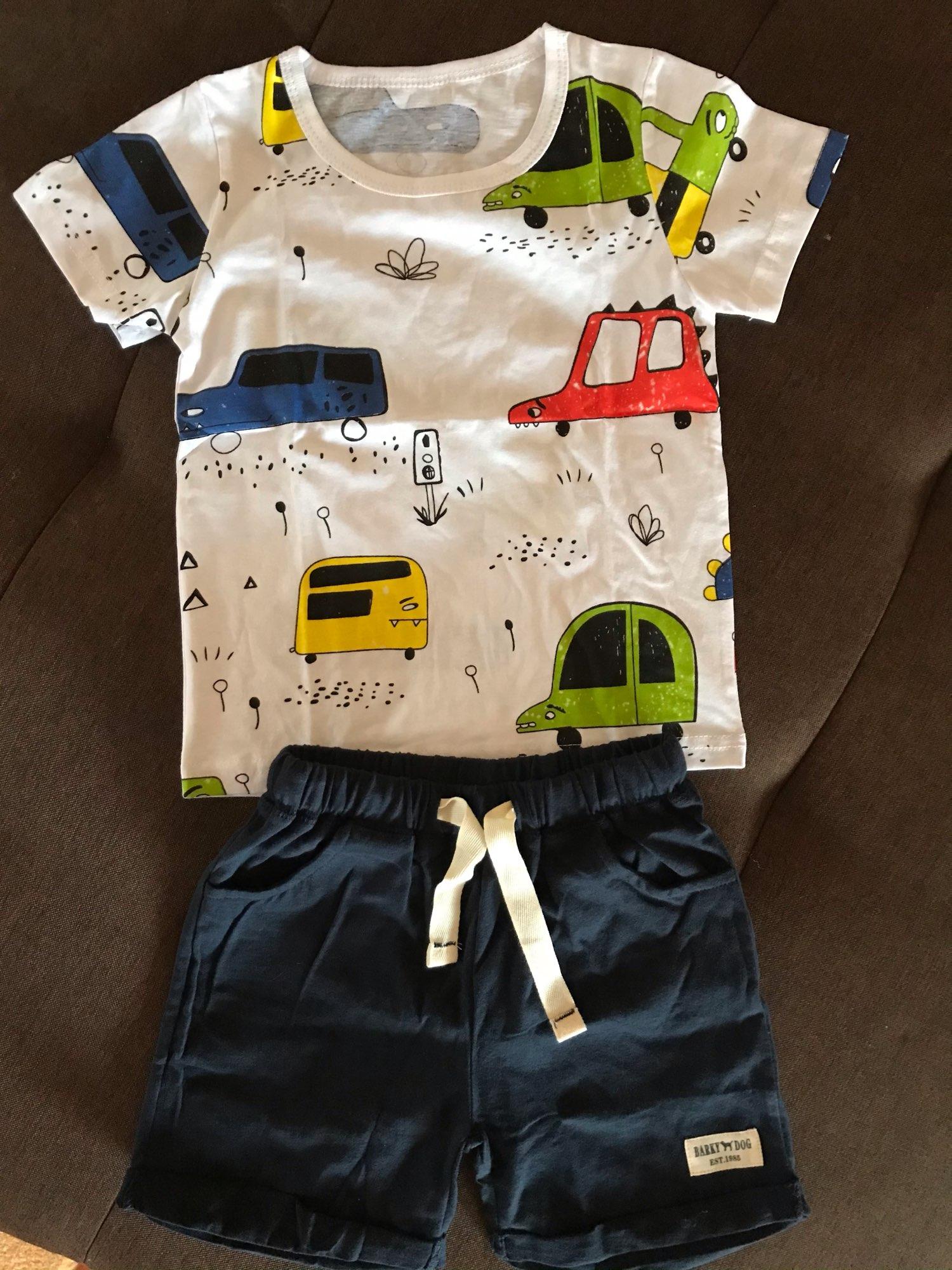 BINIDUCKLING Summer Toddler Boys Clothes Cotton Short Sleeve White Cartoon Car Print T-shirt 2PCS For Kids Children Boy Clothes photo review
