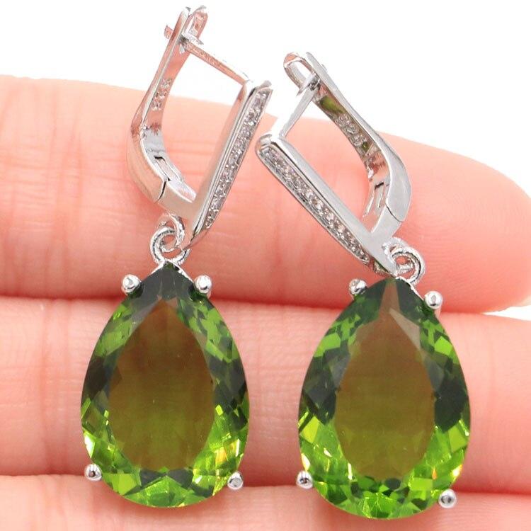 Klassische 18x13mm Wasser Tropfen Form Erstellt Green Peridot Natürliche CZ Geschenk Für Mädchen Silber Ohrringe 35x13mm