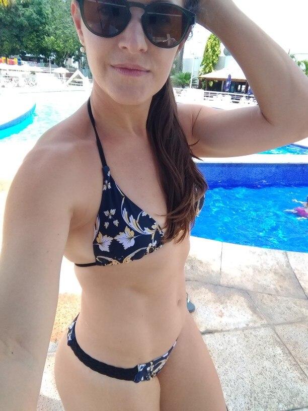 Sexy Halter Swimsuit New Lace up Beach Wear Women Thong Micro Bikini 2020 Brazilian Bikini Print Swimwear String Mini Swimsuit|Bikini Set|   - AliExpress