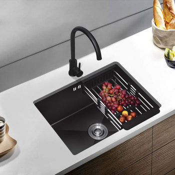 цена на 304 stainless steel black kitchen sinks Nano-water tank single-groovebasin vegetable-washing basin under mount for large kitchen
