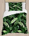 Sonst Tropical Dschungel Grüne Blätter Blumen 4 Stück 3D Druck Baumwolle Satin Einzelnen Bettbezug Bettwäsche Set Kissen Fall Bett blatt-in Bettbezug aus Heim und Garten bei