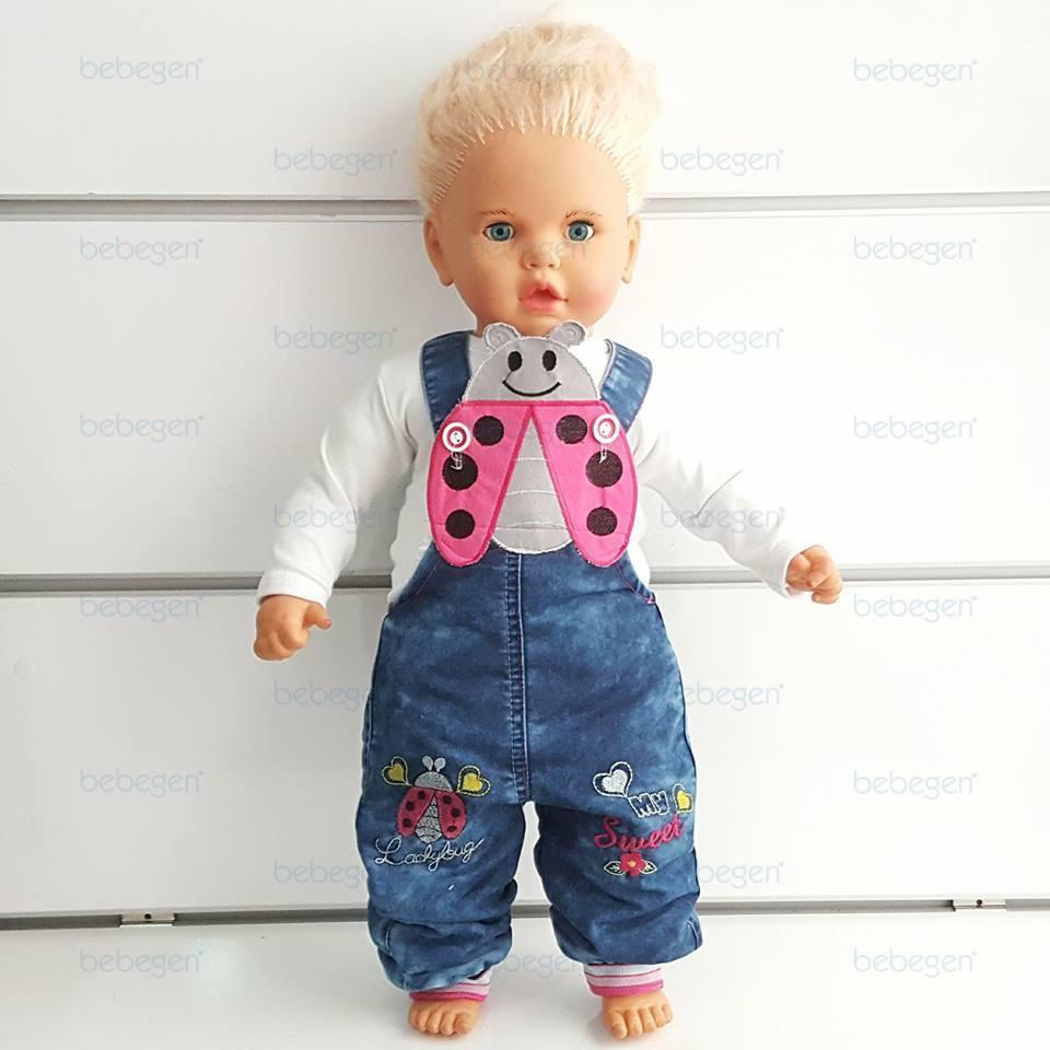 Ladybird Buggy Embroidered Badisiz Baby Jeans Salopet Gardener Baby Rompers
