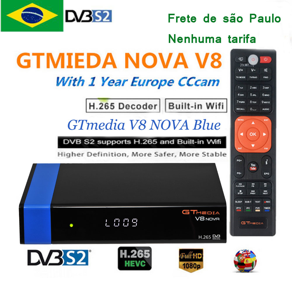 GTMEDIA V8 nova Blue DVB-S2 Receptor de tv frete бесплатно brasil Satelite декодер Freesat V8 nova FTA встроенный wifi Newcam cccam