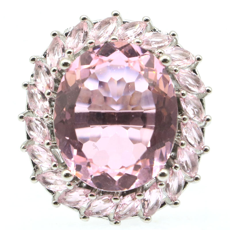 26x24mm Beautiful Created 18x15mm Pink Kunzite Gift For Ladies Jewelry Silver Rings